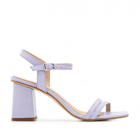 Ankle Block Heel Sandals in Purple Leather