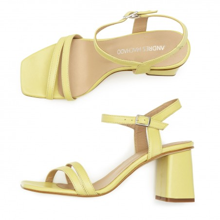 Ankle Block Heel Sandals in Yellow Leather
