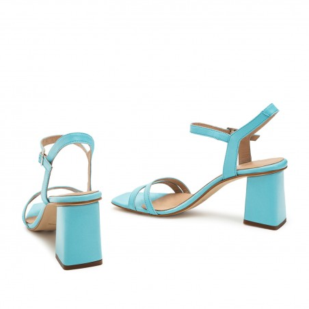 Ankle Block Heel Sandals in Sky Blue Leather