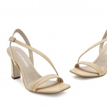 Crossover Heeled Sandals in Beige Leather