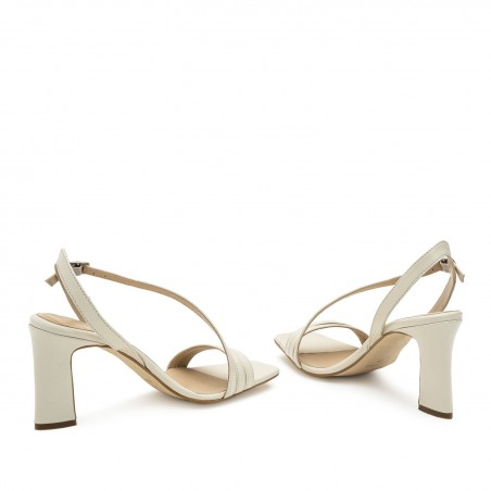 Crossover Heeled Sandals in Cream Leather