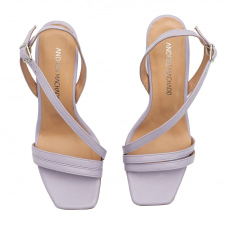 Crossover Heeled Sandals in Purple Leather