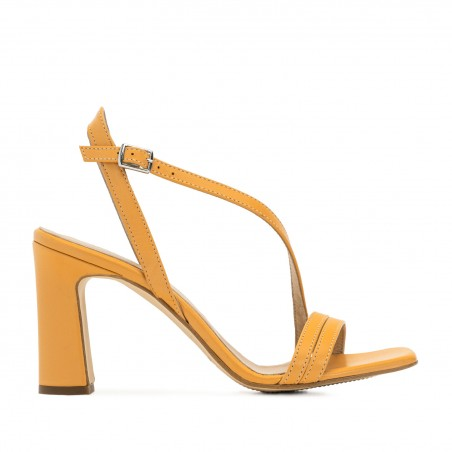 Crossover Heeled Sandals in Orange Leather