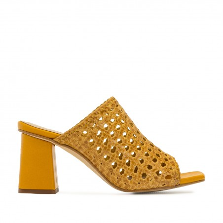 Braided Mules in Mustard Leather