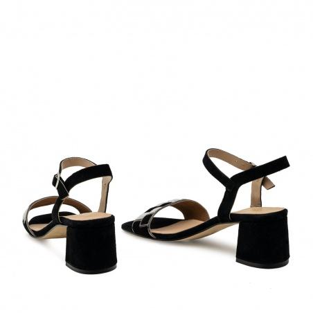 Mosaic Block Heel Sandals in Black Suede Leather