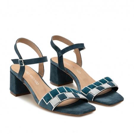 Mosaic Block Heel Sandals in Blue Suede Leather