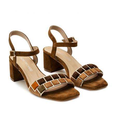 Mosaic Block Heel Sandals in Brown Suede Leather