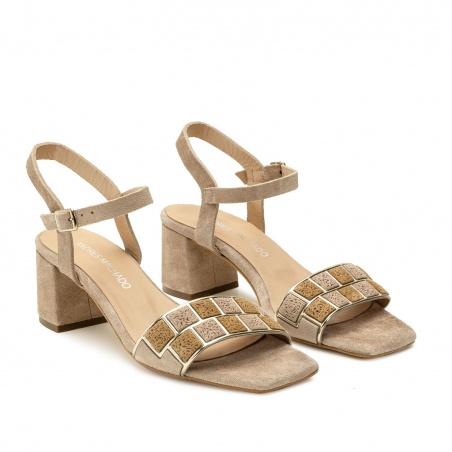 Mosaic Block Heel Sandals in Beige Suede Leather