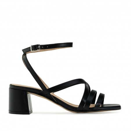Square Toe Sandals in Black Leather