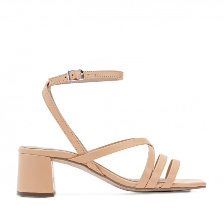 Square Toe Sandals in Nude Leather