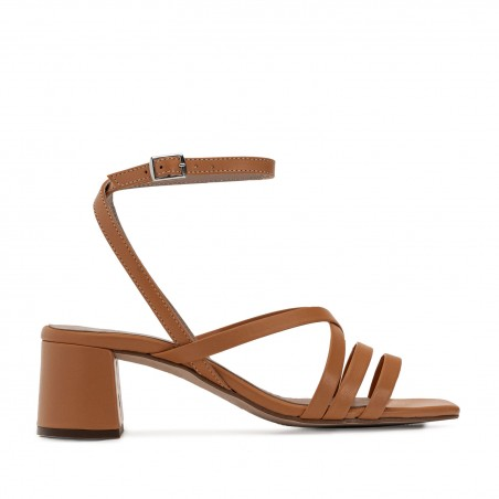 Square Toe Sandals in Brown Leather