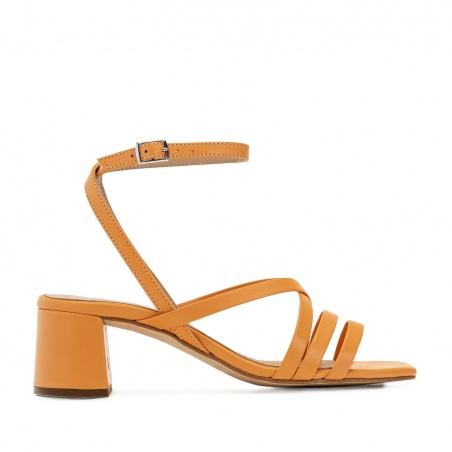 Square Toe Sandals in Orange Leather