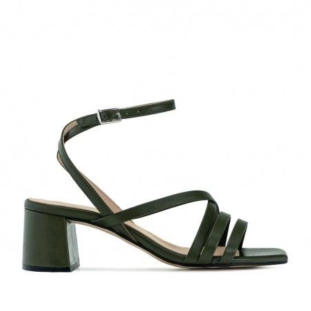 Square Toe Sandals in Khaki Leather