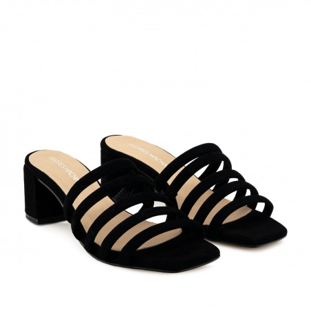 Strappy Mules in Black Leather
