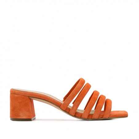Strappy Mules in Orange Leather