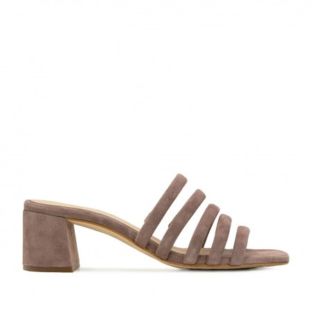 Strappy Mules in Nude Leather