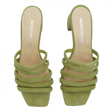 Strappy Mules in Khaki Leather