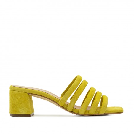 Strappy Mules in Yellow Leather