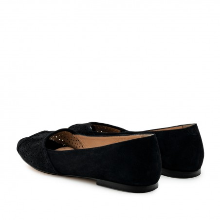 Open Toe Ballet Flats in Black Suede Leather