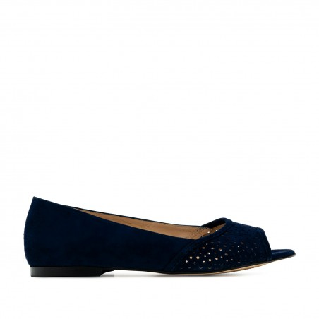 Open Toe Ballet Flats in Navy Suede Leather
