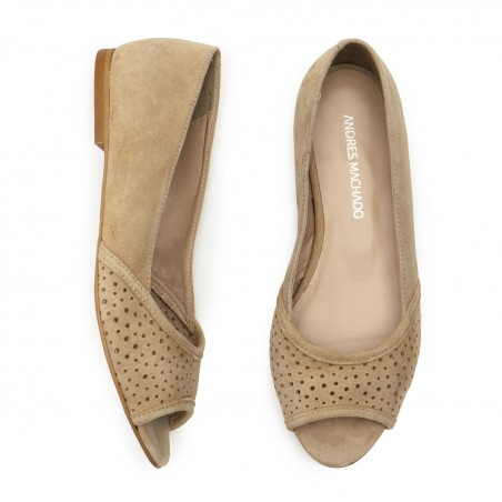 Open Toe Ballet Flats in Camel Suede Leather