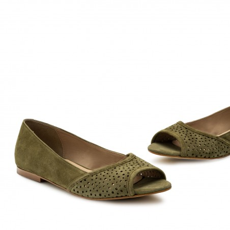 Open Toe Ballet Flats in Green Suede Leather