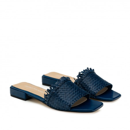 Braided Mules in Deep Blue Leather