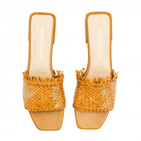 Braided Mules in Camel Leather