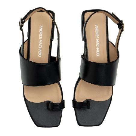 Toe Slingback Sandals in Black Leather