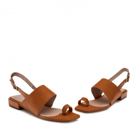 Toe Slingback Sandals in Brown Leather