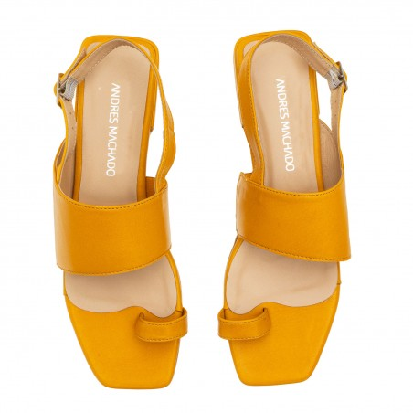 Toe Slingback Sandals in Mustard Leather