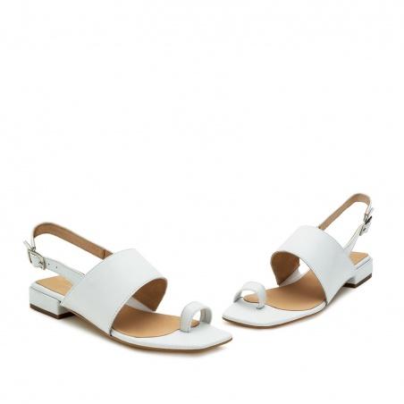 Sandalias en piel tacón Blanco