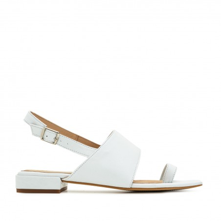 Toe Slingback Sandals in White Leather