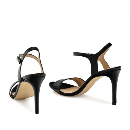 Ankle Stiletto Sandals in Black Leather