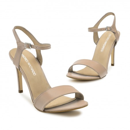 Ankle Stiletto Sandals in Nude Leather
