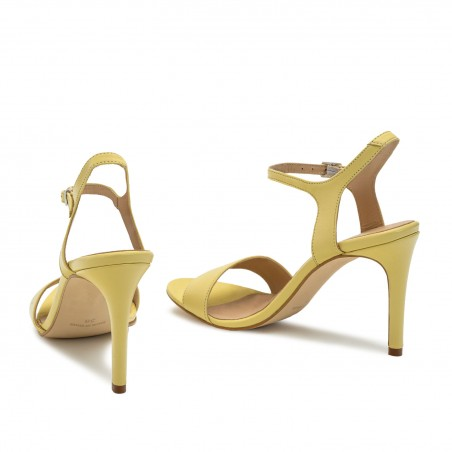 Ankle Stiletto Sandals in Yellow Leather
