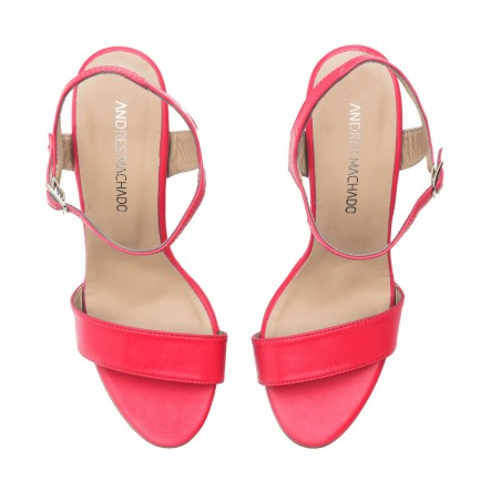 Ankle Stiletto Sandals in Fuchsia Leather