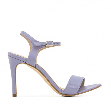 Ankle Stiletto Sandals in Purple Leather