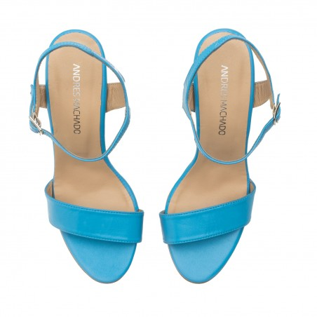 Ankle Stiletto Sandals in Blue Leather