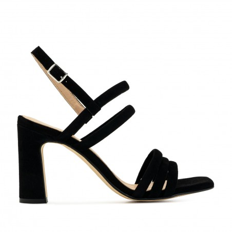 Strappy Heeled Sandals in Black Suede Leather