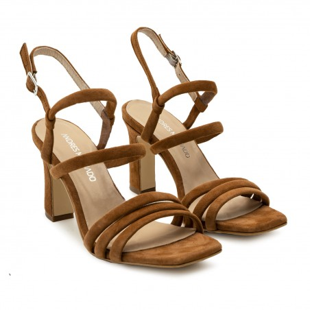 Strappy Heeled Sandals in Brown Suede Leather