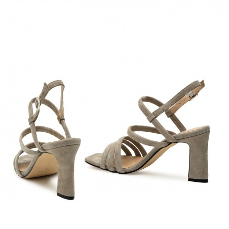 Strappy Heeled Sandals in Grey Suede Leather