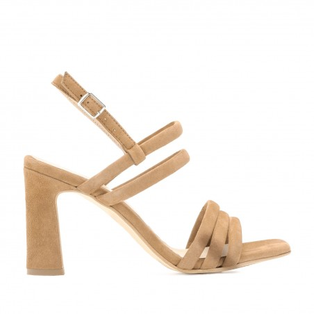 Strappy Heeled Sandals in Beige Suede Leather