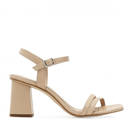 Ankle Block Heel Sandals in Camel Leather
